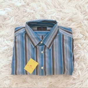 NEW • Etro • Button Down Shirt Striped Blue XL